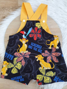 LION KING print - Size 1 Baby Overalls, Short Leg Romper / 1st Birthday / Cake Smash Outfit