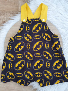BATMAN print - Size 1 Baby Overalls, Short Leg Romper / 1st Birthday / Cake Smash Outfit