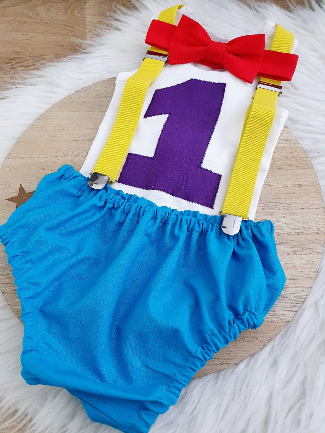 WIGGLY INSPIRED - Boys 1st Birthday - Cake Smash Outfit - Size 0, Nappy Cover, Tie, Singlet & Suspenders Set