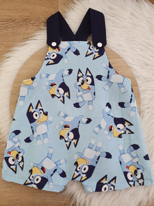 BLUE DOG - Size 1 Baby Overalls, Short Leg Romper / 1st Birthday / Cake Smash Outfit