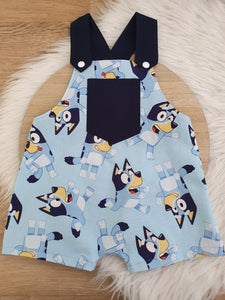 BLUE DOG - Size 0 Baby Overalls, Short Leg Romper / 1st Birthday / Cake Smash Outfit
