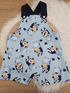 BLUE DOG - Size 2 Baby Overalls, Short Leg Romper / 1st Birthday / Cake Smash Outfit