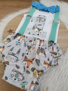 WOODLAND - Boys 1st Birthday - Cake Smash Outfit - Size 1, Nappy Cover, Tie, Suspenders & Singlet Set