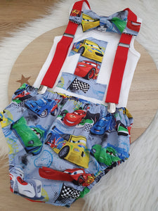 CARS print - Boys 1st Birthday - Cake Smash Outfit - Size 1, Nappy Cover, Tie, Suspenders & Singlet Set