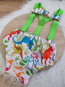 DINOSAUR - Boys Cake Smash Outfit, First Birthday Outfit, Size 1, 3 Piece Set