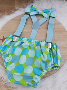 BLUE & GREEN SPOT - Boys Cake Smash Outfit, First Birthday Outfit, Size 0, 3 Piece Set