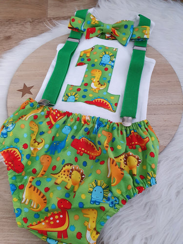 DINOSAUR ON GREEN - Boys 1st Birthday - Cake Smash Outfit - Size 1, Nappy Cover, Tie, Suspenders & Singlet Set