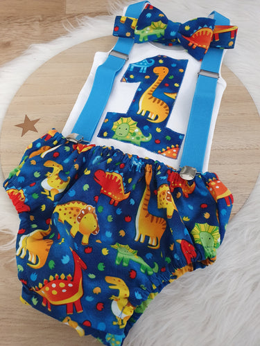 DINOSAUR ON BLUE - Boys 1st Birthday - Cake Smash Outfit - Size 0, Nappy Cover, Tie, Singlet & Suspenders Set