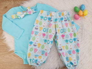 EASTER - Long Sleeve Bodysuit, Bow tie and Harem Pants, 3 PIECE SET, Size 0