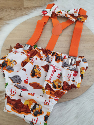 CAT CONSTRUCTION - Boys Cake Smash Outfit, First Birthday Outfit, Size 1, 3 Piece Set