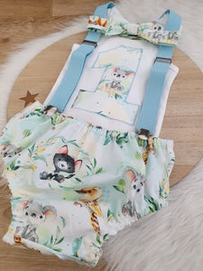FURRY FRIENDS - Boys 1st Birthday - Cake Smash Outfit - Size 0, Nappy Cover, Tie, Singlet & Suspenders Set