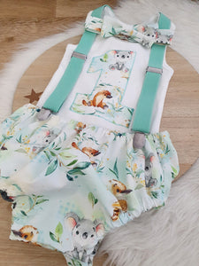 FURRY FRIENDS - Boys 1st Birthday - Cake Smash Outfit - Size 1, Nappy Cover, Tie, Suspenders & Singlet Set