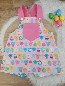 EASTER - Size 0 Baby Overalls, Short Leg Romper, Baby Easter Outfit