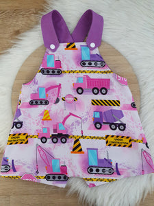 DIGGERS - Size 0 Baby Overalls, Short Leg Romper / 1st Birthday / Cake Smash Outfit