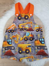 DIGGERS - Size 1 Baby Overalls, Short Leg Romper / 1st Birthday / Cake Smash Outfit
