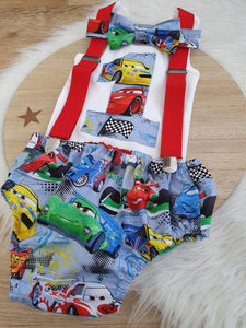 CARS print - Boys 1st Birthday - Cake Smash Outfit - Size 0, Nappy Cover, Tie, Singlet & Suspenders Set
