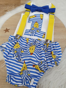 BANANAS print - Boys 1st Birthday - Cake Smash Outfit - Size 0, Nappy Cover, Tie, Singlet & Suspenders Set