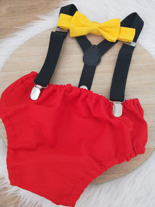 MICKEY INSPIRED - Boys Cake Smash Outfit, First Birthday Outfit, Size 0, 3 Piece Set