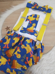 BIG BIRD print - Boys 1st Birthday - Cake Smash Outfit - Size 0, Nappy Cover, Tie, Singlet & Suspenders Set