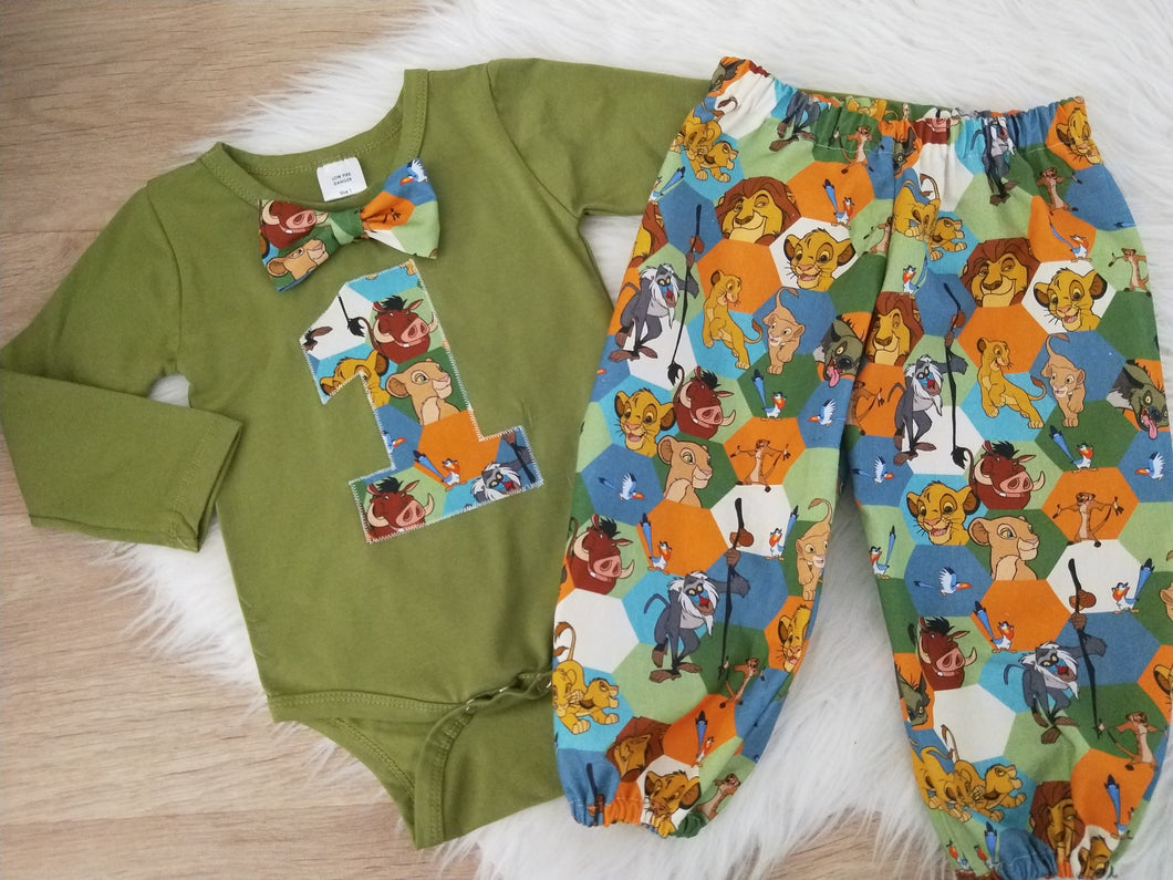 LION KING PRINT Baby Boy 1st Birthday Long Sleeve Bodysuit with bow tie and Harem Pants, Size 1