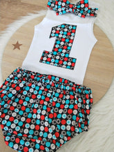 BLACK / AQUA / RED Boys 1st Birthday - Cake Smash Outfit - Size 1, Nappy Cover, Tie & Singlet Set