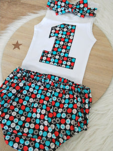 Boys 1st Birthday - Cake Smash Outfit - Size 1, Nappy Cover, Tie & Singlet Set - BLACK / AQUA / RED