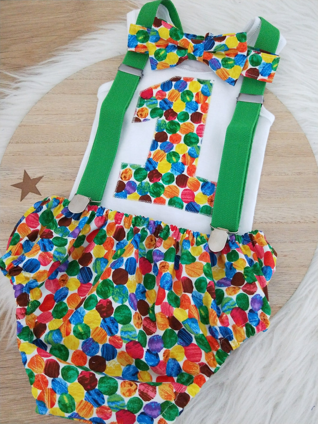 CATERPILLAR SPOTS - Boys 1st Birthday - Cake Smash Outfit - Size 0, Nappy Cover, Tie, Singlet & Suspenders Set