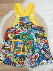 MARVEL COMIC print - Size 1 Baby Overalls, Short Leg Romper / 1st Birthday / Cake Smash Outfit