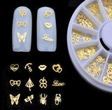 New 3d Gold Metal Nail Art Sticker Decoration Wheel Butterfly Lips Design Tiny Slice DIY Nail Accessories 1 box