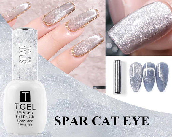 Spar Cat Eye Nail Gel Polish Magnetic Soak Off UV Gel Nail Polish Glitter Shining Magnet Gel Lacquers Wide Effect silver colors