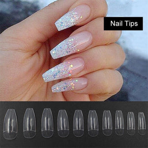 Makartt 500pcs/Bag Ballerina Nail Art Tips Clear/Natural  Coffin  Nails Art Tips Flat Shape Full Cover Manicure Nail Tips A0499
