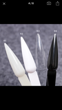 High and thick Black and clear white long tip nails samples