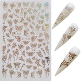 1 pieces buom holographic goldNail Art Laser Gold and Silver Butterfly Sticker Spring Summer Butterfly Designs Manicure ZY buom Vang