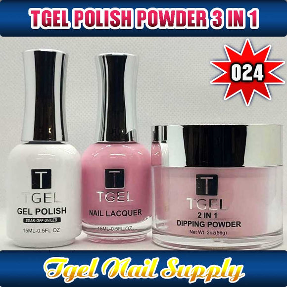 TGEL 3in1 Gel Polish + Nail Lacquer + Dipping Powder #024