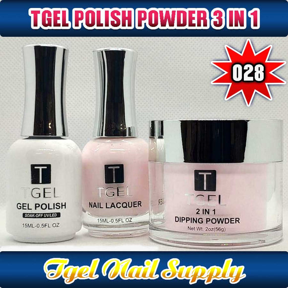 TGEL 3in1 Gel Polish + Nail Lacquer + Dipping Powder #028