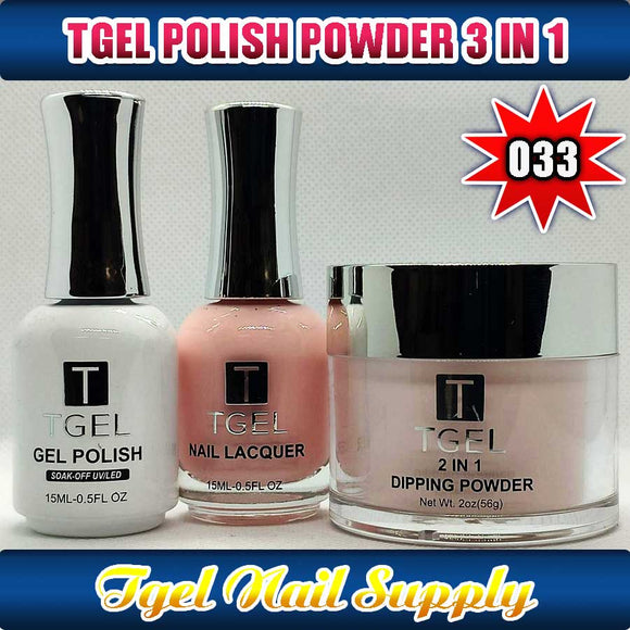 TGEL 3in1 Gel Polish + Nail Lacquer + Dipping Powder #033