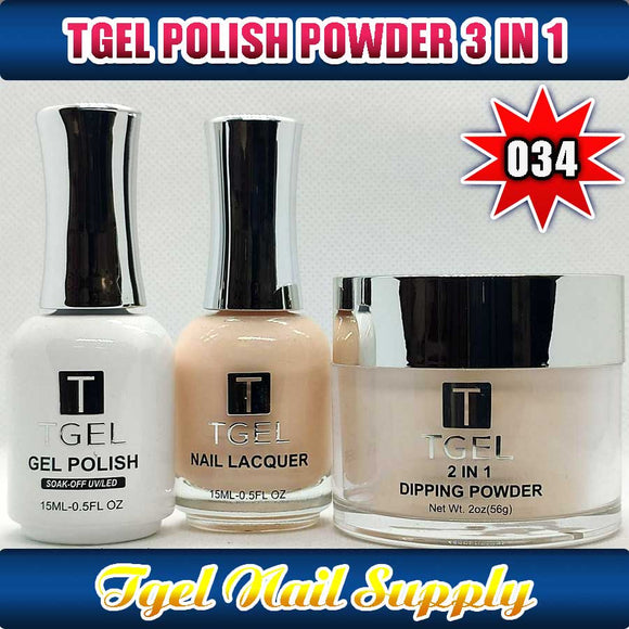 TGEL 3in1 Gel Polish + Nail Lacquer + Dipping Powder #034