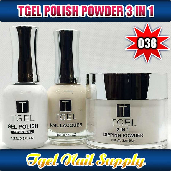 TGEL 3in1 Gel Polish + Nail Lacquer + Dipping Powder #036