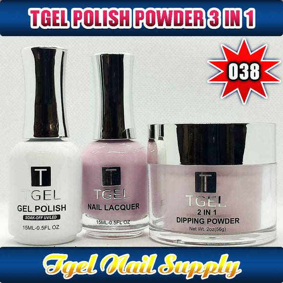 TGEL 3in1 Gel Polish + Nail Lacquer + Dipping Powder #038