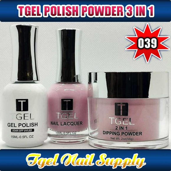 TGEL 3in1 Gel Polish + Nail Lacquer + Dipping Powder #039