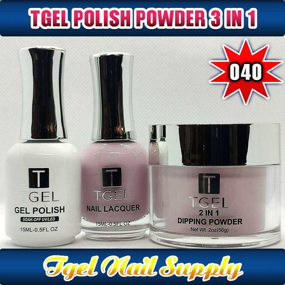TGEL 3in1 Gel Polish + Nail Lacquer + Dipping Powder #040