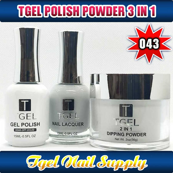 TGEL 3in1 Gel Polish + Nail Lacquer + Dipping Powder #043