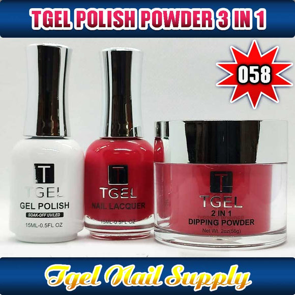 TGEL 3in1 Gel Polish + Nail Lacquer + Dipping Powder #058