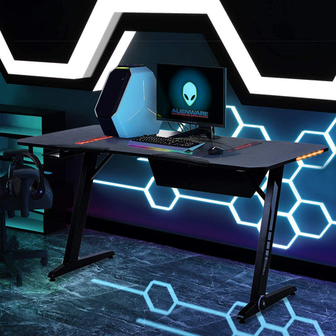 Binrrio Gaming Desk Black Pro Z Shaped with Carbon Fiber Surface