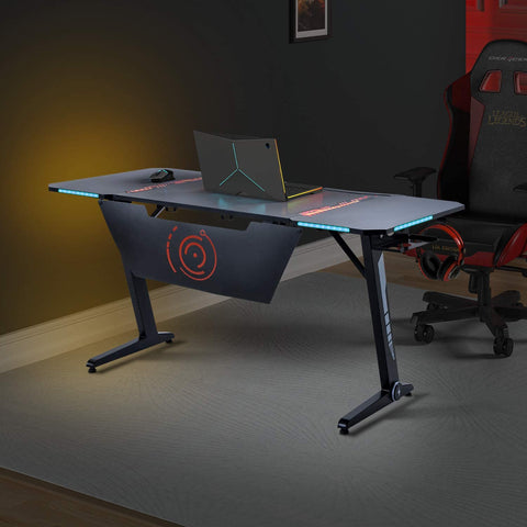 Image of Binrrio Gaming Desk Black Pro Z Shaped with Carbon Fiber Surface