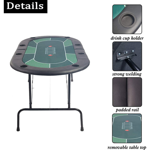 8 Players Foldable Poker Table
