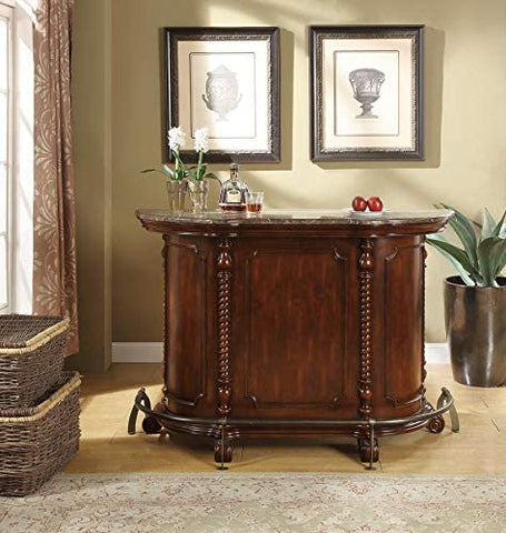 Image of 2-door 2-drawer Bar Unit with Marble Top Warm Brown