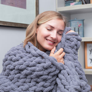 Chunky Knit Blanket - 50x60 inch Handmade from Polyester Chenille Chunk Yarn