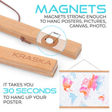 Load image into Gallery viewer, Poster Frame - 12, 18, 20, 24 inch Frame Magnetic Poster Hanger, Teak Wood Frame