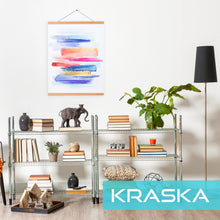 Load image into Gallery viewer, KRASKA - Poster Frame - 18x24 Frame Magnetic Poster Hanger, Hanging Wall Art, Prints Picture Painting Artwork Map Scroll Movie Posters, Big Size Wood Frame and Vintage Photo Hanger - Teak Wood